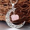 Colar Meia Lua com Quartzo Rosa