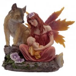Fada Flor do Outono com Bebé e Lobo
