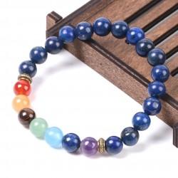 Pulseira com Pedras Naturais 7 Chakras Lapis Lazuli - Cura Emocional e Meditação